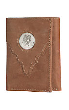 Danbury Collegiate Collection Silver LSU Brown Tri-fold Wallet