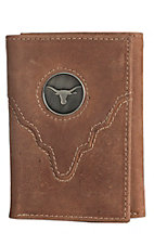 Danbury Collegiate Collection Silver UT Brown Tri-fold Wallet