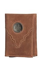 Danbury Collegiate Collection Silver Baylor Brown Tri-fold Wallet