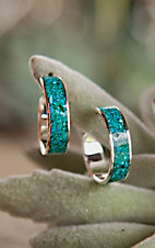Bar V Ranch by Vogt Sterling with Turquoise Inlay Open Hoop Earrings