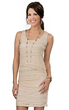 Anne French Women's Natural Tiered Lace Dress