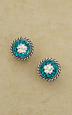 Bar V Ranch by Vogt Sterling Crushed Turquoise with Silver Flower Post Earrings