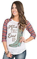 Southern Grace White Burnout with Multi Colored Lace 3/4 Sleeve Casual Knit Top