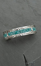 Bar V Ranch by Vogt Engraved Silver Inlaid with Turquoise Cuff Bracelet