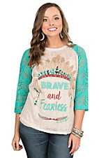 Southern Grace Women's Cream with Brave and Fearless with Headdress and Turquoise Lace 3/4 Sleeves Casual Knit Top