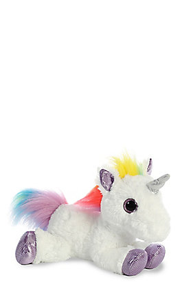 Aurora Flopsie White & Rainbow Stuffed Unicorn