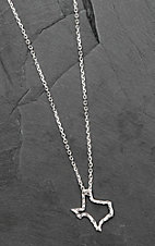 Bar V Ranch by Vogt Hand Engraved Sterling Texas Outline Necklace