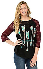 Southern Grace Women's Black Burnout Wild & Free with Maroon Lace 3/4 Sleeve Casual Knit Tee