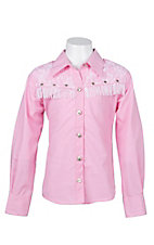 09 Apparel Girls Pink with White Fringe and Lace Long Sleeve Western Shirt