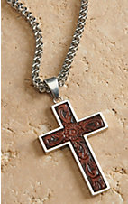 M&F Twister Men's Silver Box Chain with Leather Cross Necklace