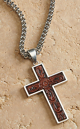 Twister Men's Silver Box Chain with Leather Cross Necklace