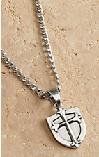 M&F Twister Men's Silver with Shield with Cross Necklace