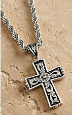 M&F Twister Men's Silver with Floral Scroll Cross Necklace