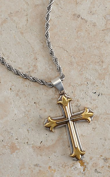simple necklace stainless for guys cross psalm grande men fear isaiah steel not products