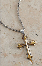 M&F Twister Men's Silver with 3D Gold and Silver Cross Necklace