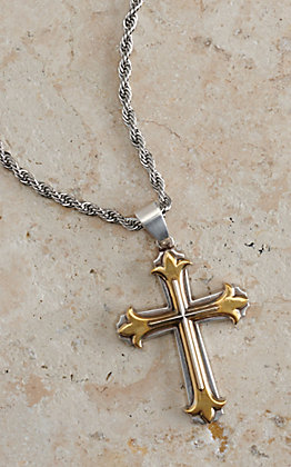 Twister Men's Silver with 3D Gold and Silver Cross Necklace