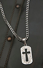 M&F Twister Men's Silver with Dog Tag Cross Cut Out Necklace