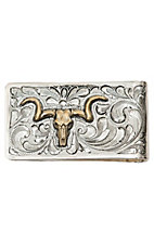 Bar V Ranch by Vogt Engraved Silver w/ Gold Steer Skull Money Clip