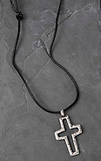 Twister Men's Black Rope with Silver Cross Necklace
