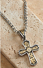 Twister Men's Silver with Ornate Cross Necklace