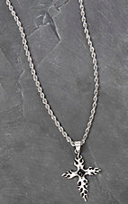 Twister Men's Silver Twisted with Intricate Cross Necklace