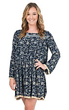 Uncle Frank Women's Blue and Cream Print Long Sleeve Tunic Dress