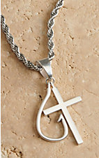 Twister Silver Chain Cross Fish Hook Necklace