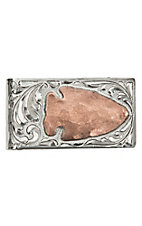 Bar V Ranch by Vogt Engraved Sterling Silver and Copper Arrowhead Money Clip