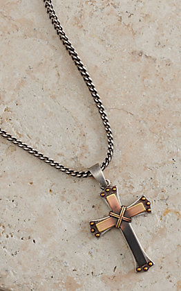 Twister Silver Cross Chain Necklace