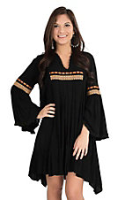 Uncle Frank Women's Black with Native Embroidery Long Bell Sleeve Dress
