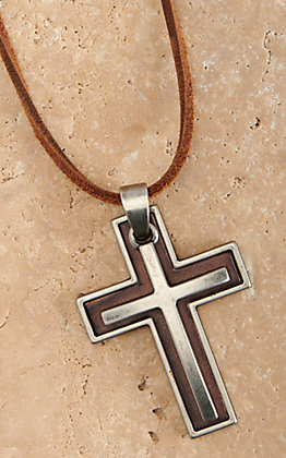 Twister Men's Silver Double Cross 22in Leather Rope Necklace