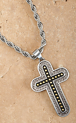 Twister Men's Silver and Gold Cross 24in Necklace