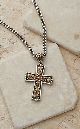 Twister Men's Antique Silver and Gold 24in Cross Necklace
