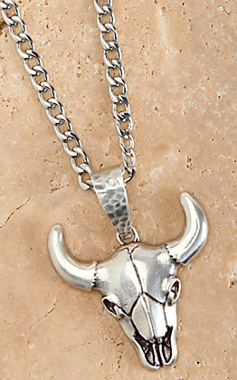 Twister Men's Silver Cow Skull 22in Necklace