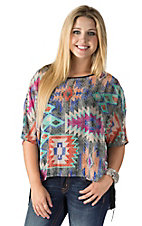 Karlie Women's Multicolor Aztec Print with Fringe Trim Short Sleeve Top