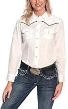 Cumberland Outfitters Ladies White with Black Piping Long Sleeve Western Retro Shirt