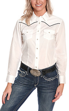 Cumberland Outfitters Women's White with Black Piping Long Sleeve Western Retro Shirt