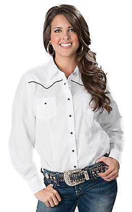 Cumberland Outfitters Women's White with Black Piping Long Sleeve Western Retro Shirt - Plus Size
