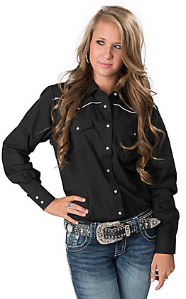 Cumberland Outfitters Women's Black with White Piping Long Sleeve Western Retro Shirt - Plus Size
