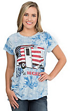 Southern Grace Women's Light Blue Tie Die with American Flag Camper Screen Print Design Short Sleeve Casual Knit Top