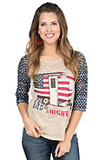 Southern Grace Women's Cream with American Flag Camper Screen Print Design and Navy with Stars Lace 3/4 Sleeves Casual Knit Top