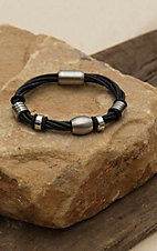M&F Twister Men's Black Twisted Four Strand with Silver Accents Bracelet