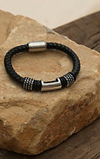M&F Twister Men's Black Large Braided Bracelet