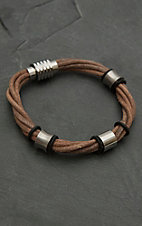 M&F Twister Men's Brown Twisted Four Strand with Silver Accents Bracelet