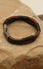 M&F Twister Men's Brown Three Strand Wrap Bracelet