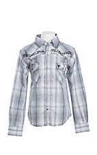 Cowboy Hardware Boy's Grey Plaid Barbwire Embroidered Long Sleeve Western Shirt