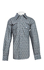 Cowboy Hardware Boy's Grey Printed Skull Embroidered Long Sleeve Western Shirt