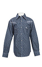 Cowboy Hardware Boy's Navy Printed Bucking Bronco Embroidered Long Sleeve Western Shirt