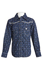 Cowboy Hardware Boy's Charcoal Skull Print Long Sleeve Western Shirt