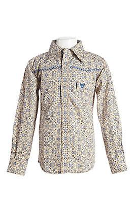 Cowboy Hardware Boy's Beige Skull Print Long Sleeve Western Shirt
